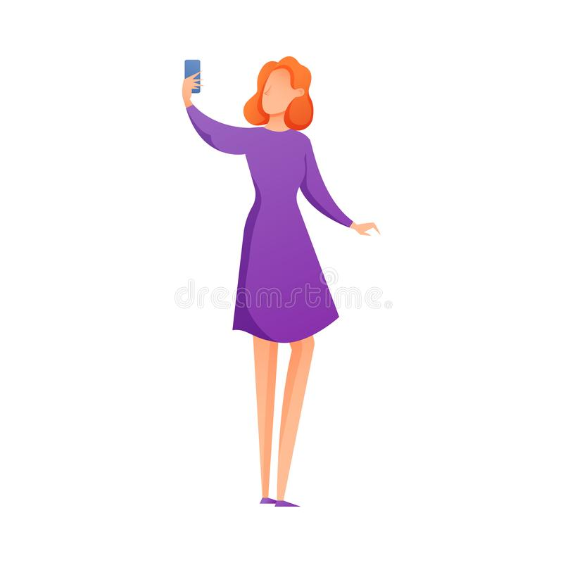 Cute red hair woman in purple dress making selfie. Cute red hair woman in purple fashion dress making selfie. Flat style. Vector illustration on white background stock illustration