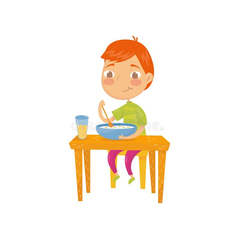 Cute red-haired boy sitting at table and eating his breakfast. Bowl of corn flakes rings with milk and glass of orange. Cute red-haired boy sitting at dining stock illustration