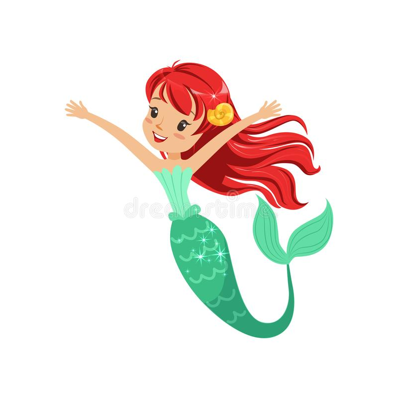 Cute red-haired mermaid girl isolated on white. Cartoon underwater character with shiny fish tail. Marine life concept. Flat design vector illustration for royalty free illustration