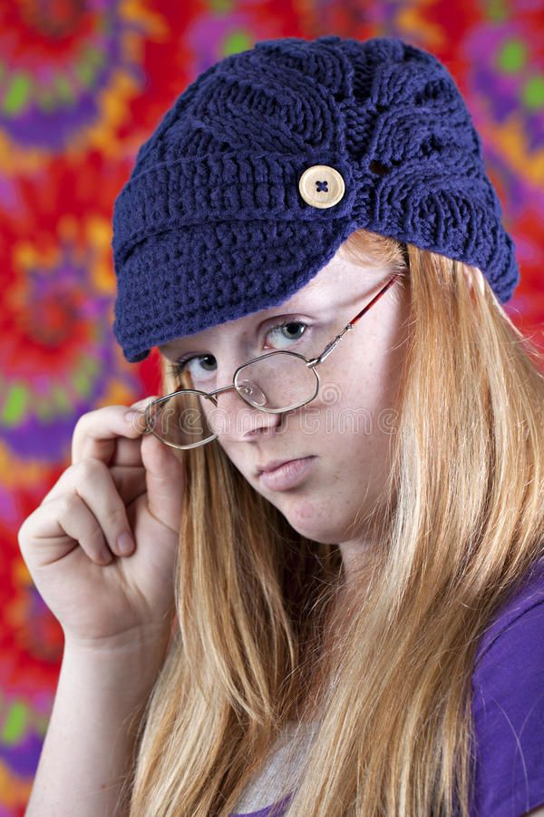 Download Cute Red Haired Teenager With Retro Look Stock Image - Image: 22632607