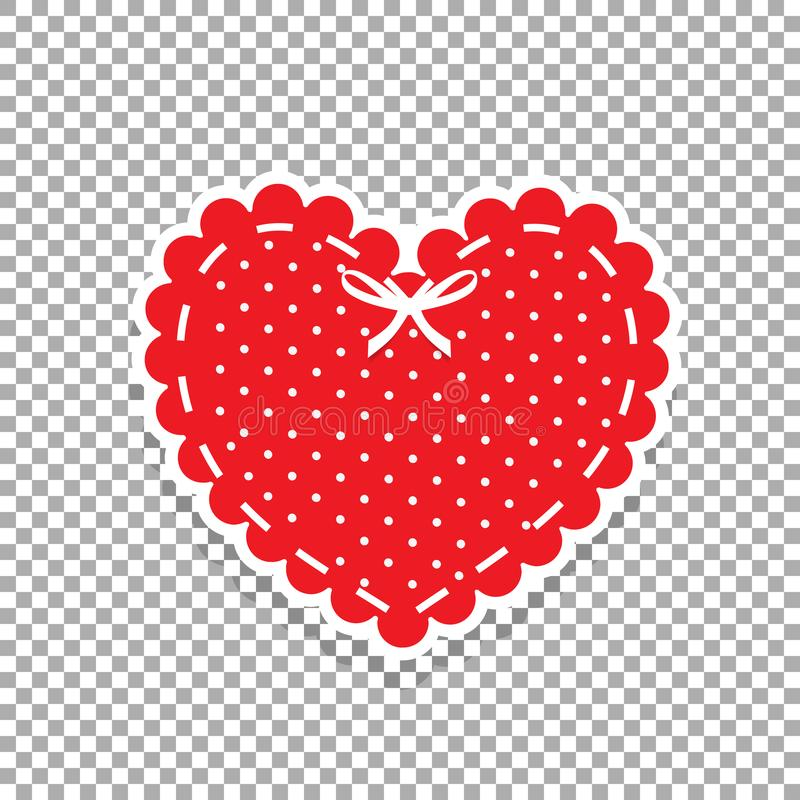 Cute red lacy heart with white polka dots pattern and ribbon iso vector illustration