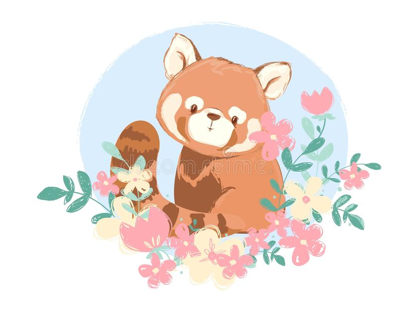 Cute red panda and flowers vector illustration, Children\'s prints and posters. Cute red panda and flowers vector illustration, Children\'s prints stock illustration