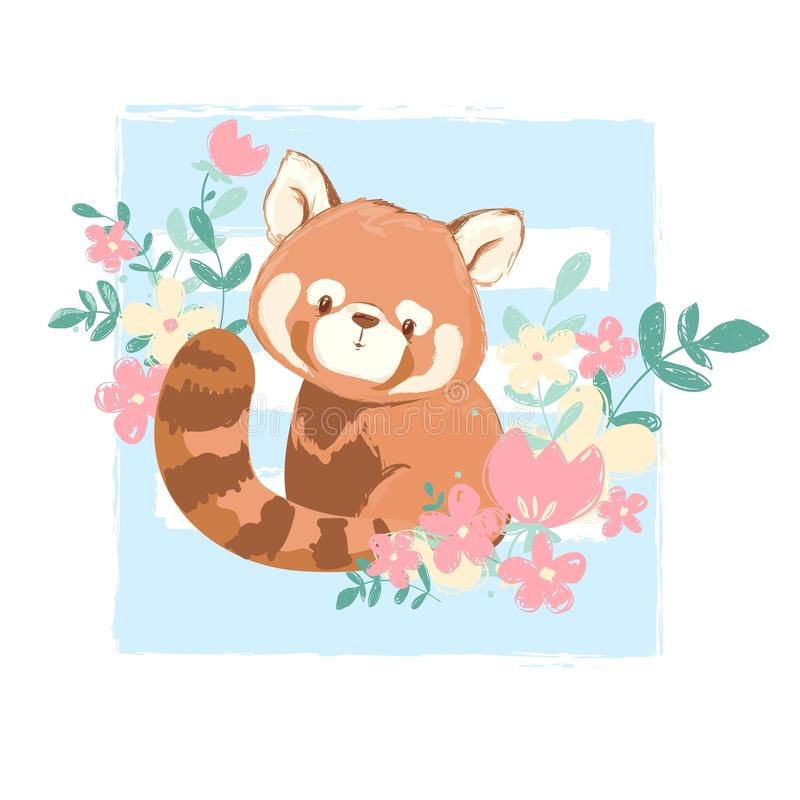 Cute Red Panda And Flowers Vector Illustration Children S Prints And Posters Stock Illustration Illustration Of Drawing Mascot 156786362