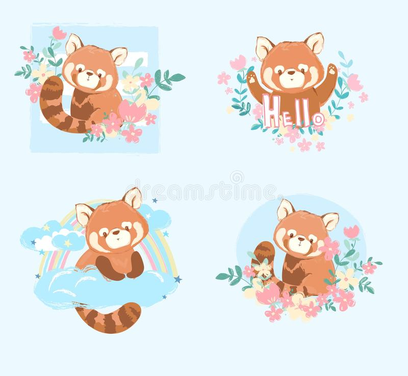 Cute red panda and flowers vector illustration, Children\'s set prints and posters. Cute red panda and flowers vector illustration, Children\'s set prints vector illustration