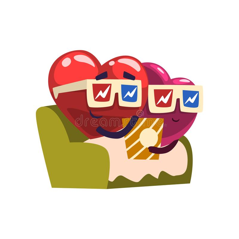 Cute red and pink hearts characters sitting in movie theater eating popcorn, funny couple in love. Happy Valentines Day royalty free illustration