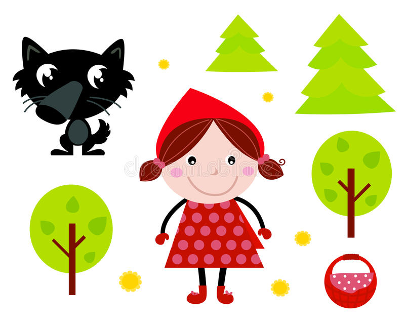 Download Cute Red Riding Hood, Wold & Accessories, Icons Stock Photos - Image: 20551323