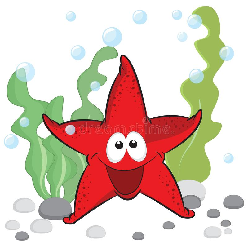 Cute red smiling sea star with shiny eyes on under the sea background. vector illustration
