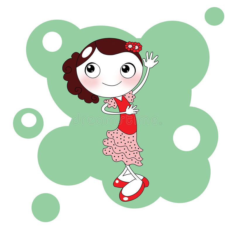 Download Cute Red Spanish Flamenco Dancer Stock Illustration - Illustration: 14256884