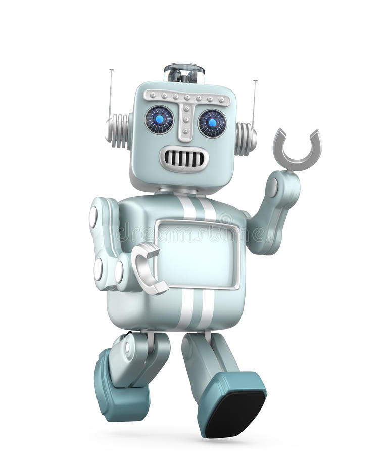 Cute red vintage robot walking and raise right hand stock illustration