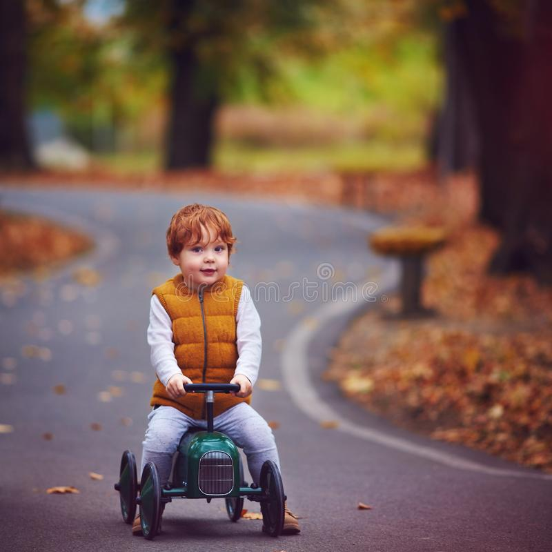 Cute redhead baby boy driving a push car in autumn park stock photography