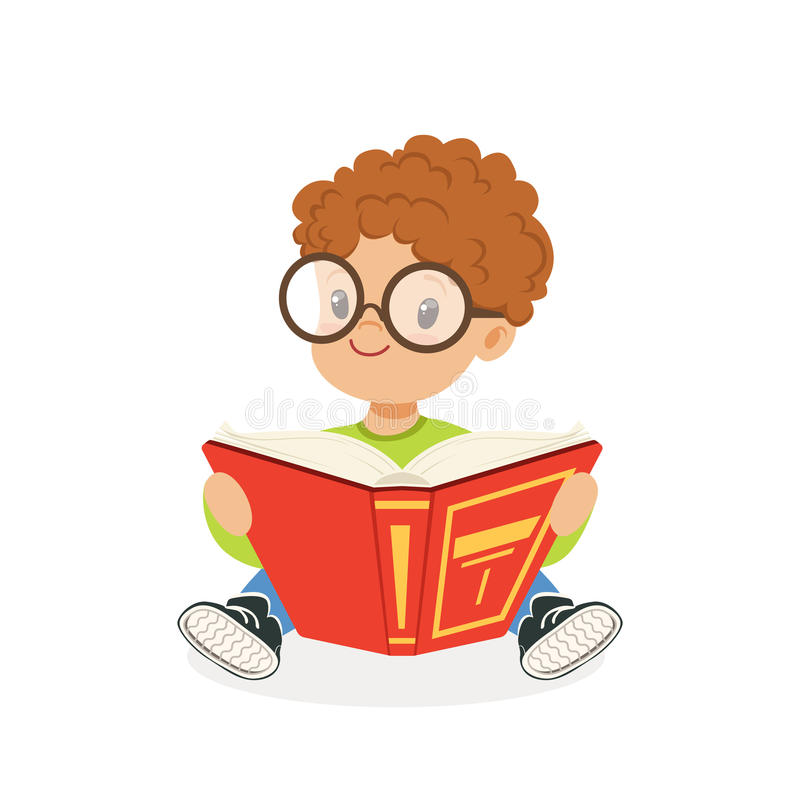 Cute redhead boy wearing glasses reading a book, kid enjoying reading, colorful character vector Illustration. On a white background royalty free illustration