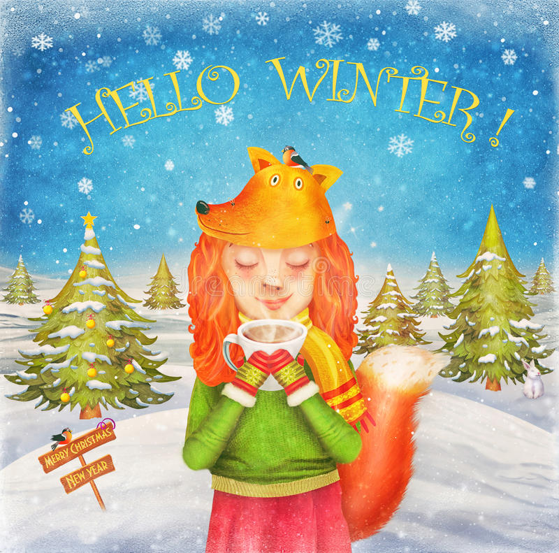 Cute redhead happy little young beautiful girl dressed as a fox. Drinking hot coffee or tea in winter. Illustration art vector illustration