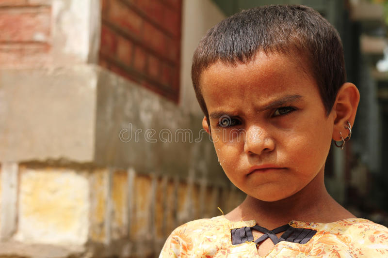 Cute Refugee Girl royalty free stock photography