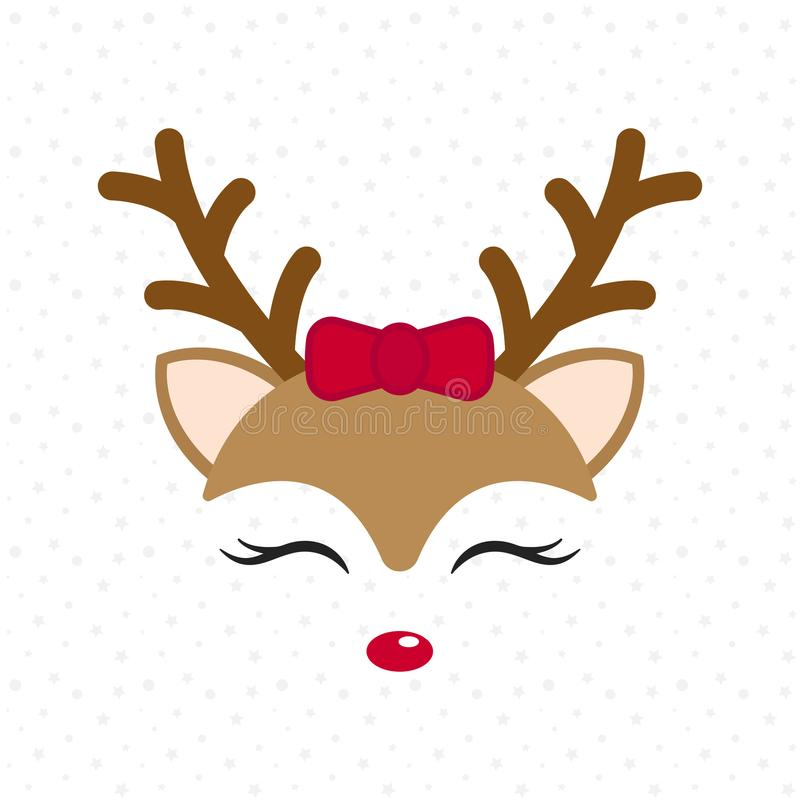 Free Cute Reindeer. Baby Deer. Merry Christmas Cartoon Character. Girl With Red Bow. Royalty Free Stock Photos - 105489988