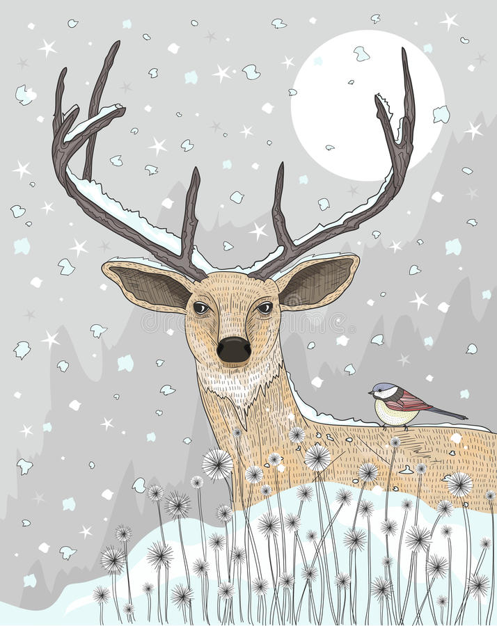Cute reindeer and bird c royalty free illustration