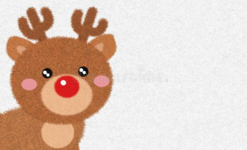 Cute Reindeer cartoon animation character drawing with fur and feather brush isolated in white fur winter background. Cute Reindeer cartoon animation character royalty free illustration