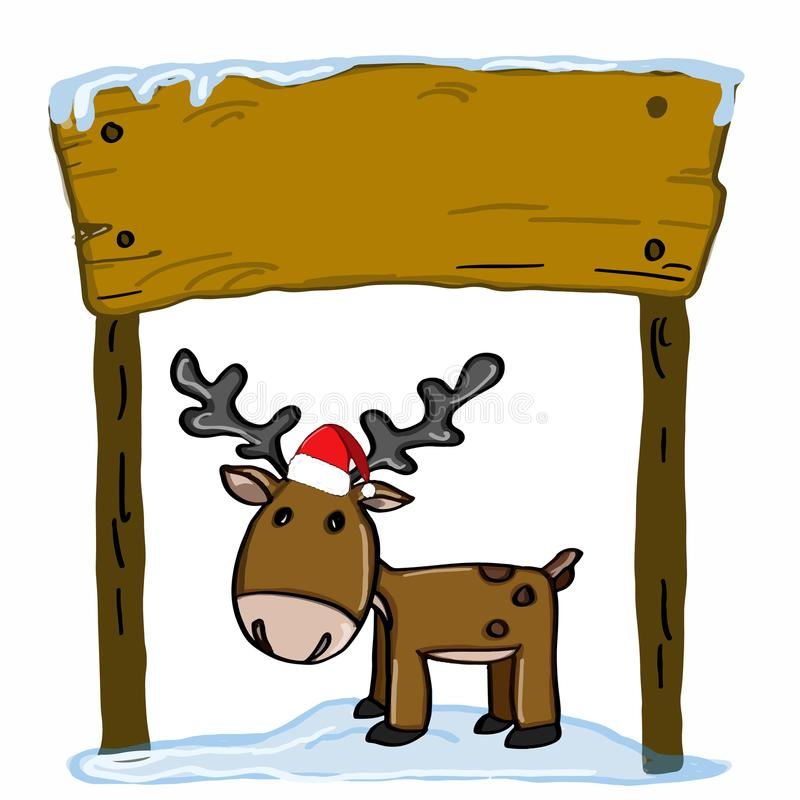 Cute reindeer cartoons and wood banner and christmas hat stock illustration
