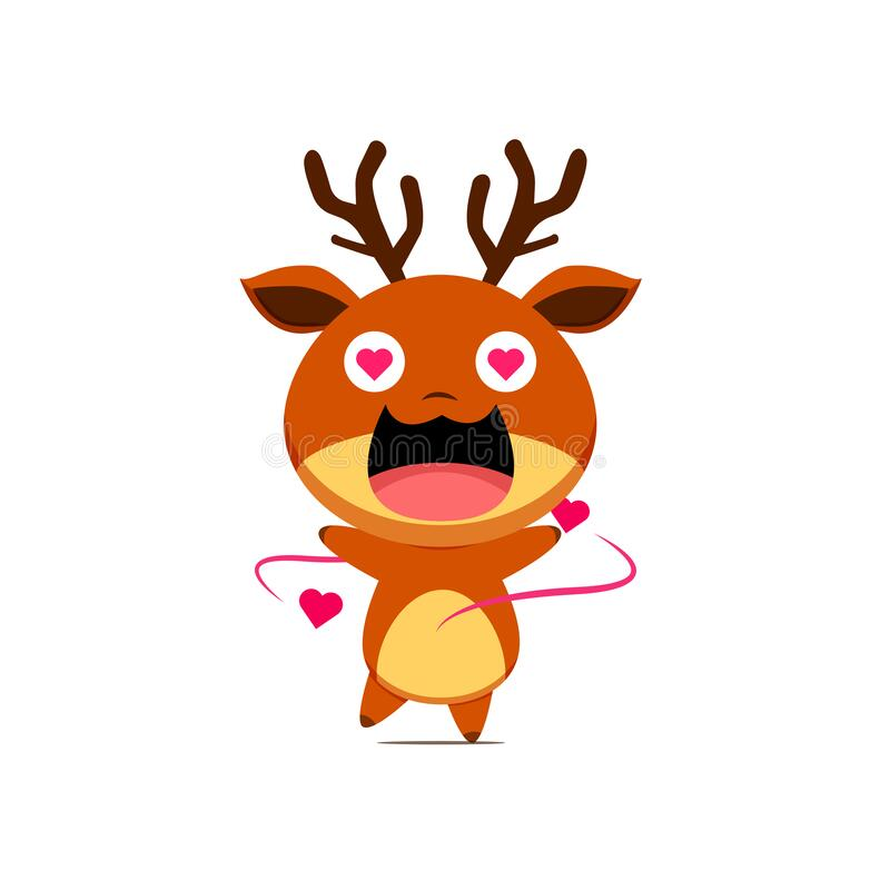 Free Cute Reindeer Character Falling In Love Isolated On White Background. Reindeer Character Emoticon Illustration Royalty Free Stock Photos - 194937008