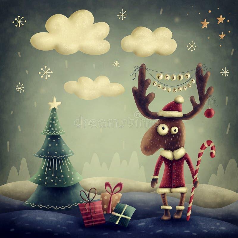 Cute reindeer. Illustration of a cute reindeer royalty free illustration