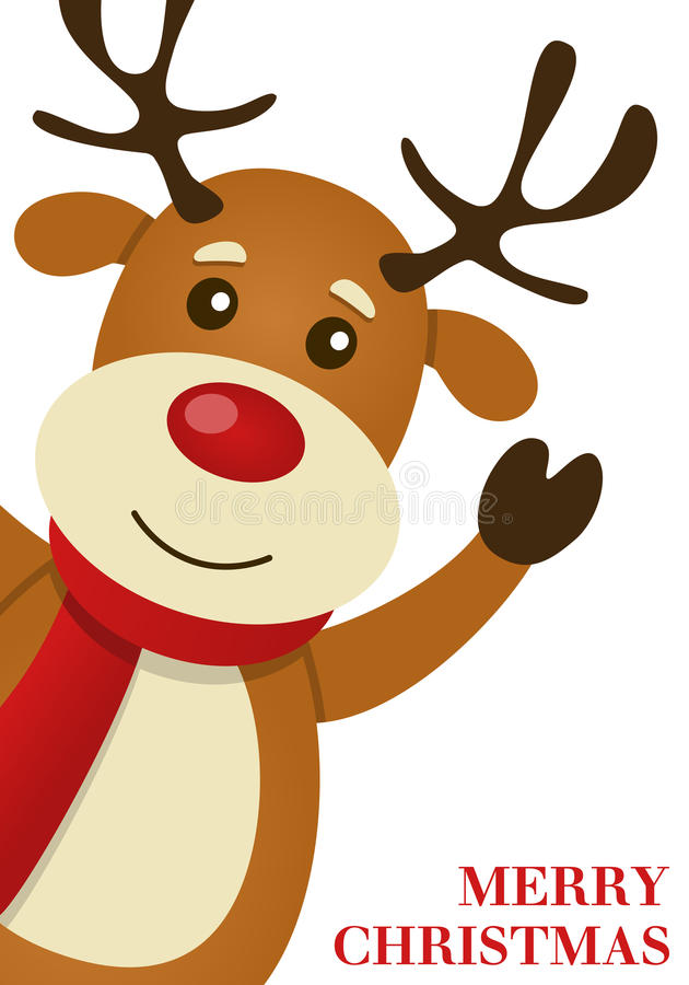 A Merry Christmas Card With Happy Reindeer Smiling And Greeting Isolated On White Background Eps File Available