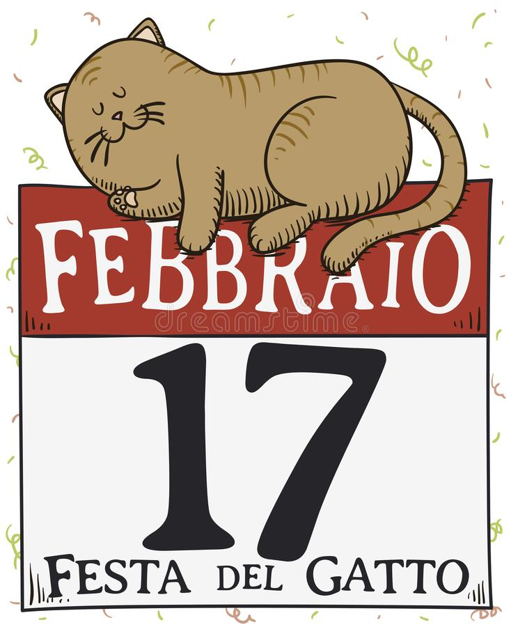 Cute Cat Resting over Calendar during Cat Day, Vector Illustration. Cute resting cat that miss the party to celebrate Cat Day -written in Italian-, over a royalty free illustration
