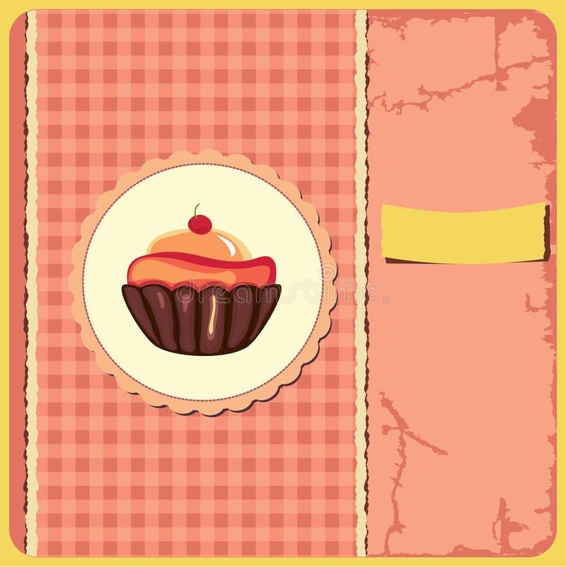 Cute retro cupcake vector illustration