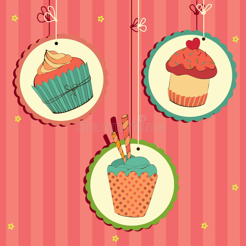 Cute retro cupcake. Three cute retro cupcake on the string . Vector card vector illustration