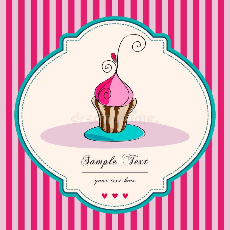 Cute retro cupcake card stock illustration