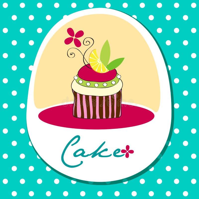 Cute retro cupcake card royalty free illustration
