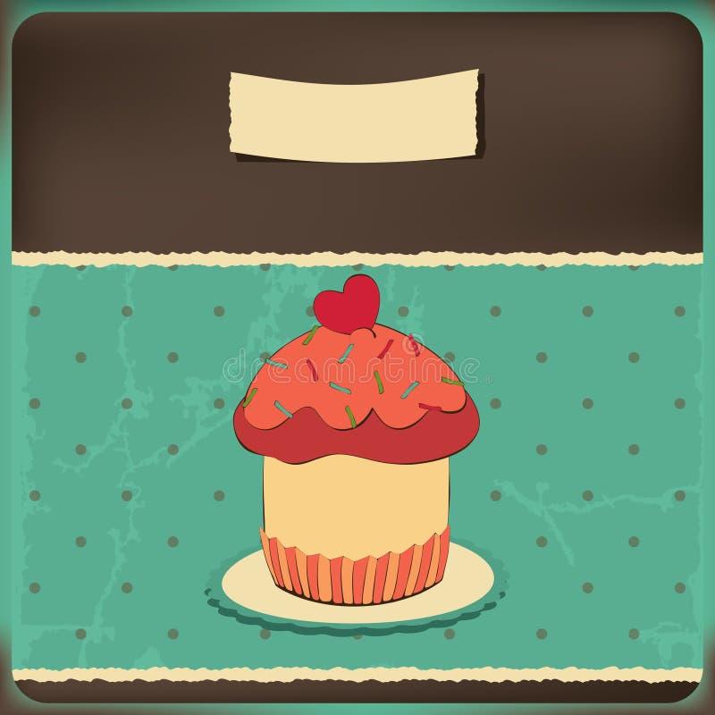 Cute retro cupcake in frame royalty free illustration