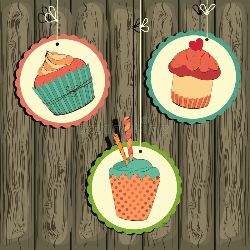 Cute retro cupcake on the string royalty free illustration