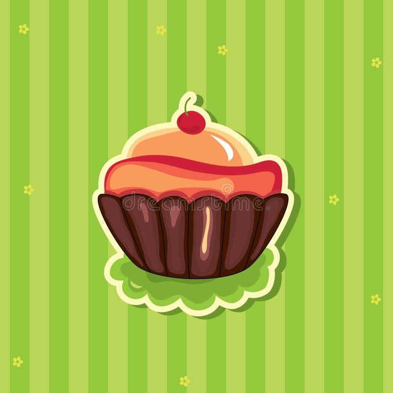 Cute retro Cupcake on striped background vector illustration