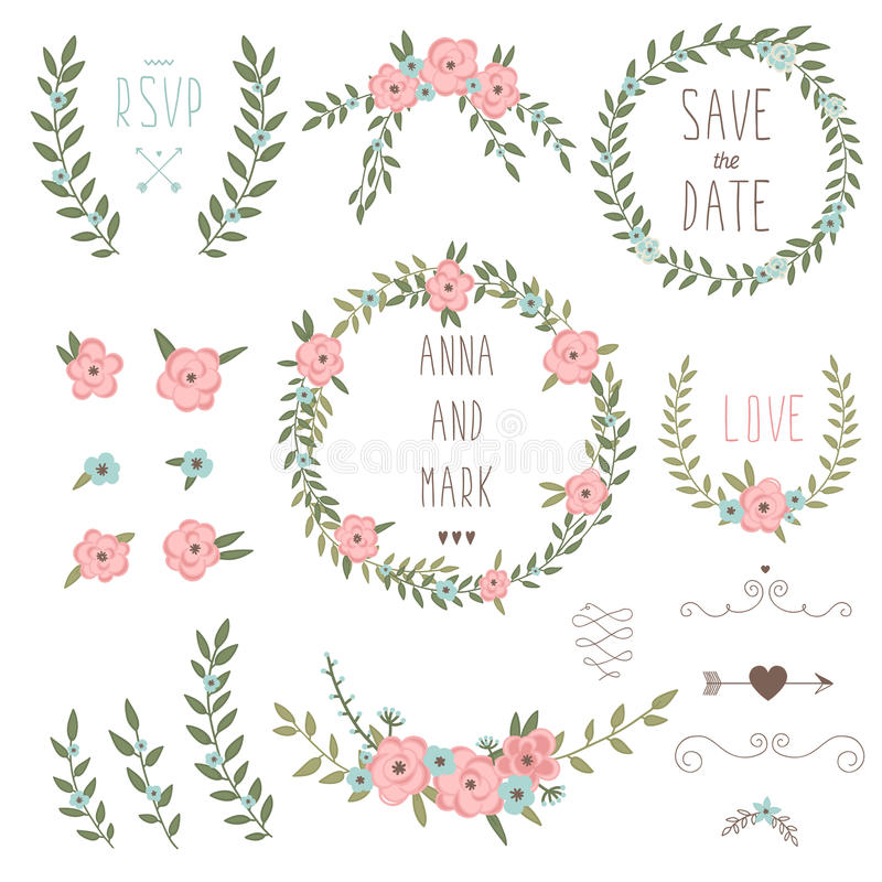 Cute retro floral bouquets and wreath stock vector Collect and save