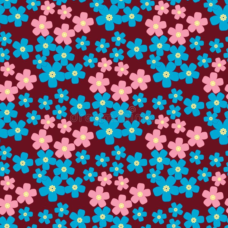 Cute retro flower background, seamless fabric pattern. Cute floral background, vector pattern with forget-me-not flowers. Seamless vector floral pattern for royalty free illustration