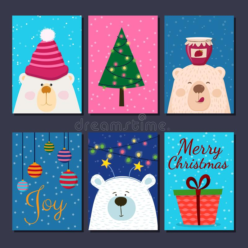 Cute retro hand drawn cards with funny Bear, fir tree, present, balls. For winter holidays, Christmas, New Year. stock illustration
