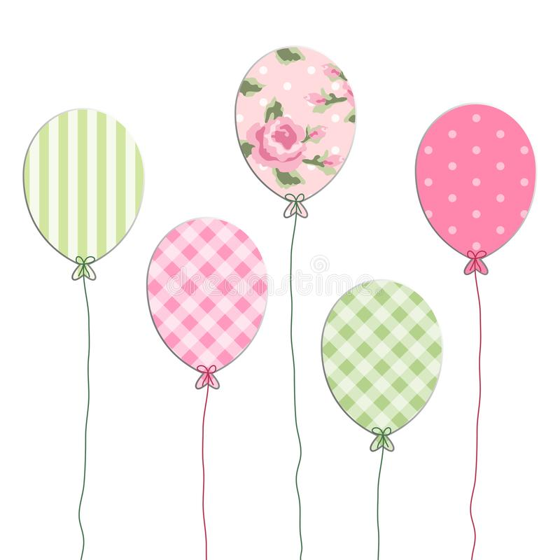 Cute retro party balloons as applique from scrap booking paper. As decoration for birthday or baby shower invitation card or photo album stock illustration