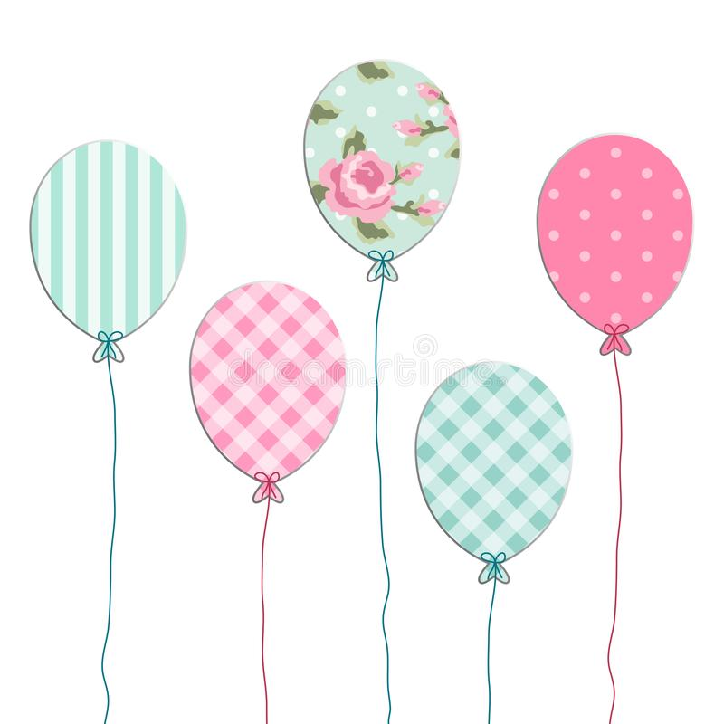 Cute retro party balloons as applique from scrap booking paper stock illustration