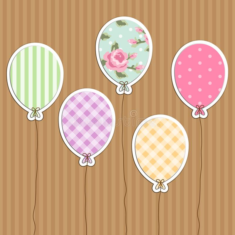 Cute retro party balloons as applique from scrap booking paper. As decoration for birthday or baby shower invitation card or photo album royalty free illustration