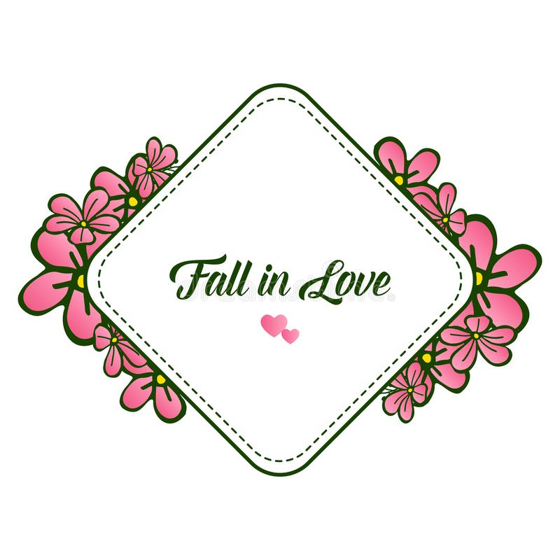 Cute retro pink flower frame, decoration various of card fall in love. Vector. Illustration stock illustration