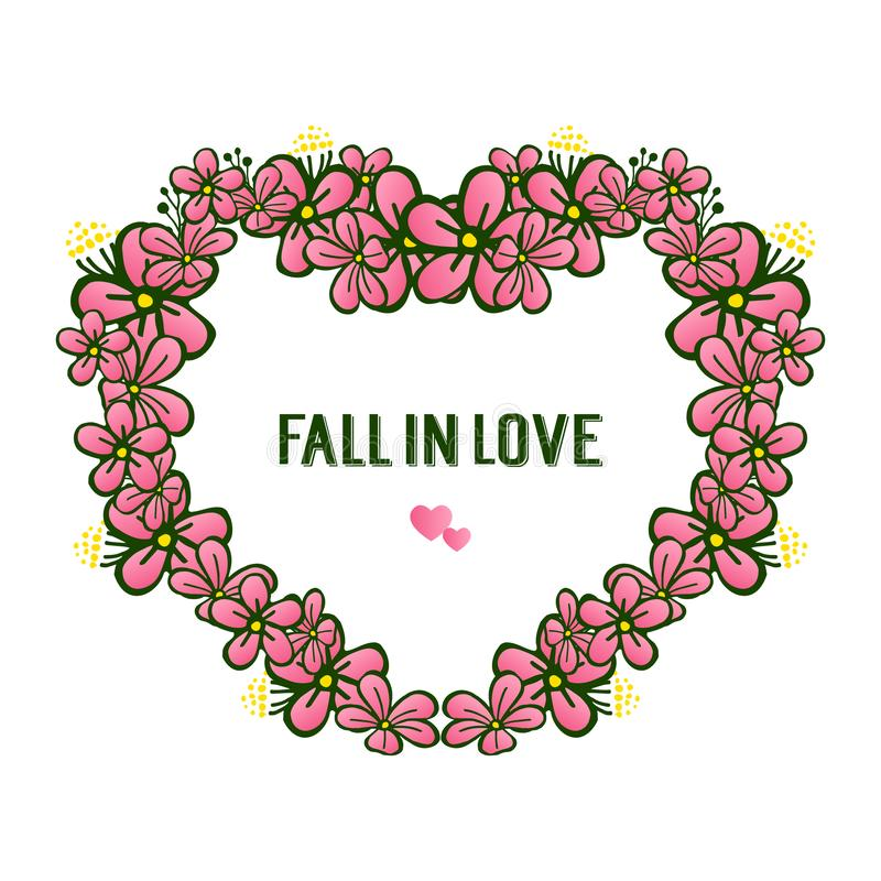Cute retro pink flower frame, decoration various of card fall in love. Vector. Illustration royalty free illustration