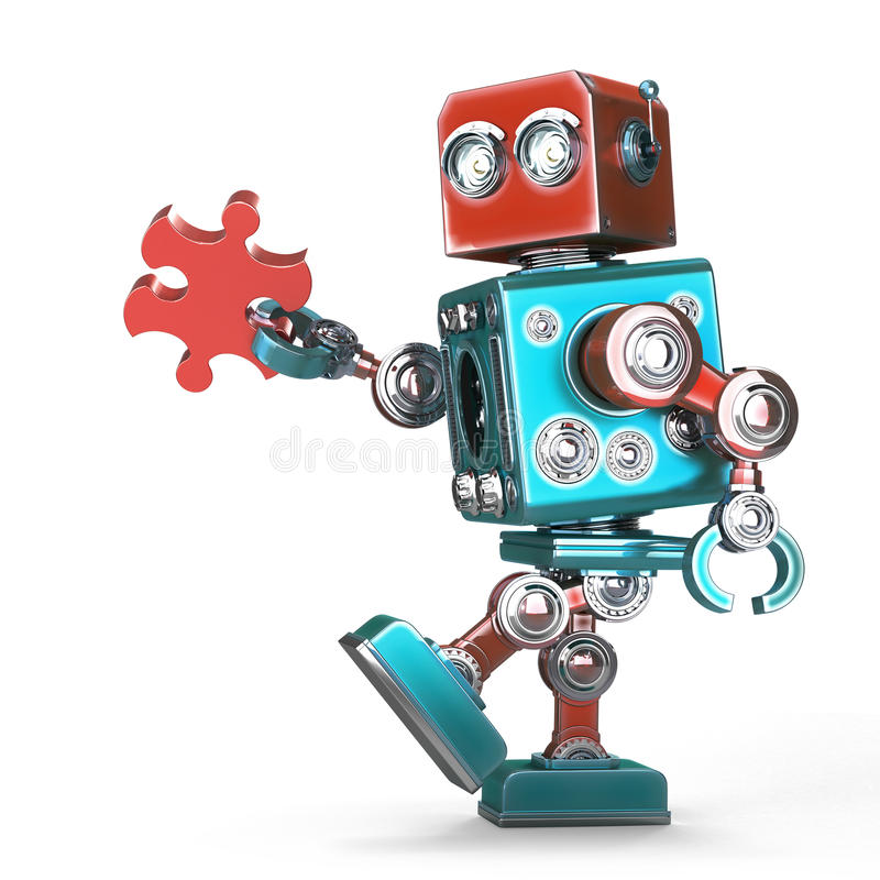 Cute retro robot connecting puzzle piece. Isolated. Contains clipping path stock illustration