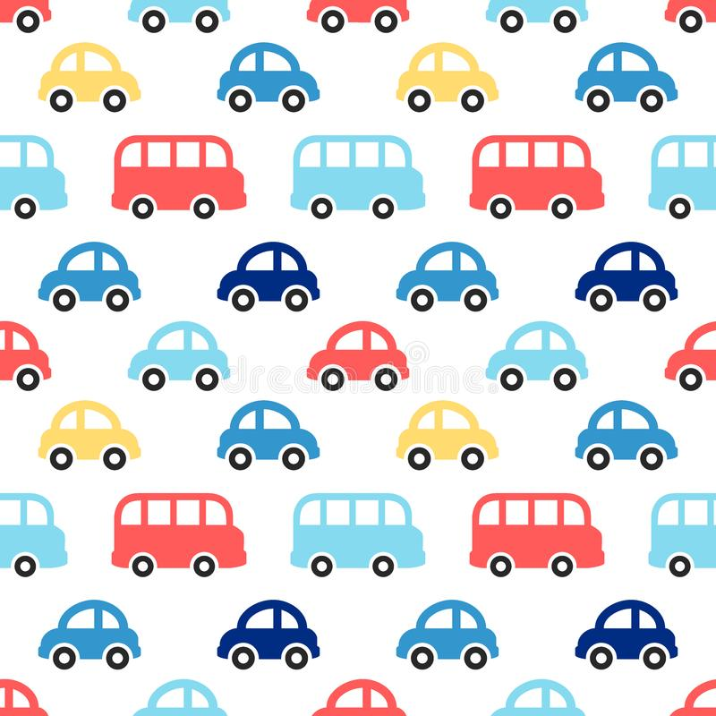 Cute retro seamless boy pattern with colorful cars and buses vector illustration