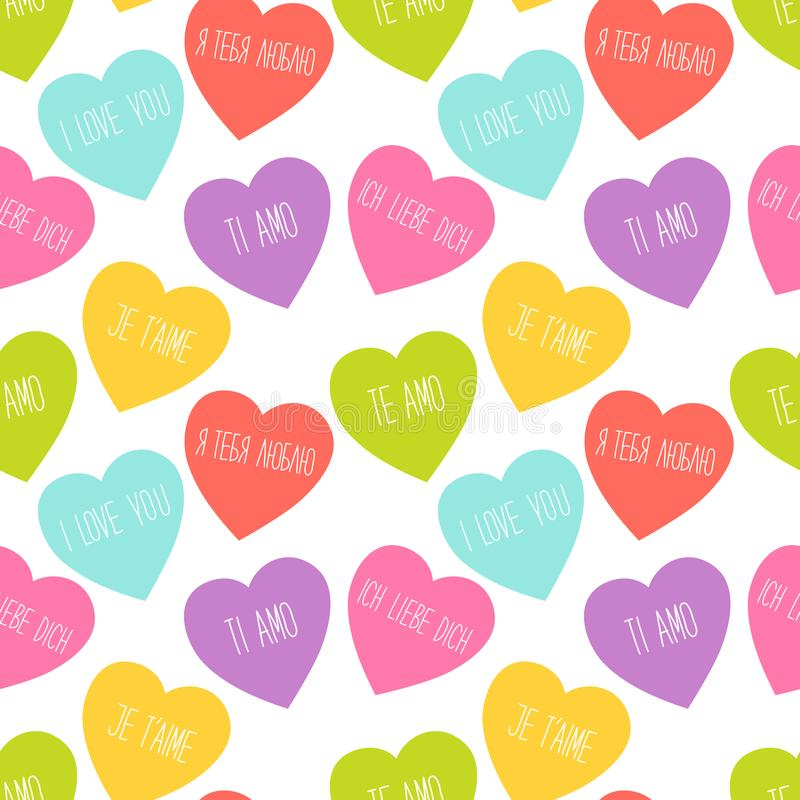 Cute retro seamless Valentines Day pattern with hearts vector illustration