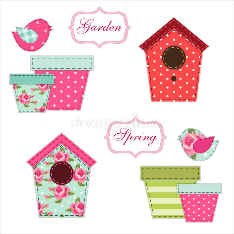 Cute retro spring and garden elements as fabric patch applique of bird house, flowers in pots and birds. For your decoration stock illustration