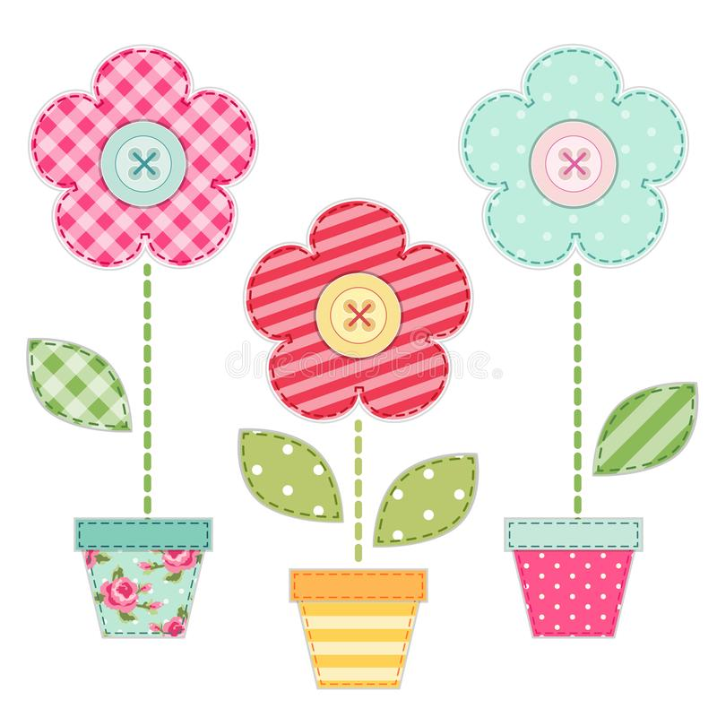 Cute retro spring and garden elements as fabric patch applique of flowers in pots. For your decoration vector illustration