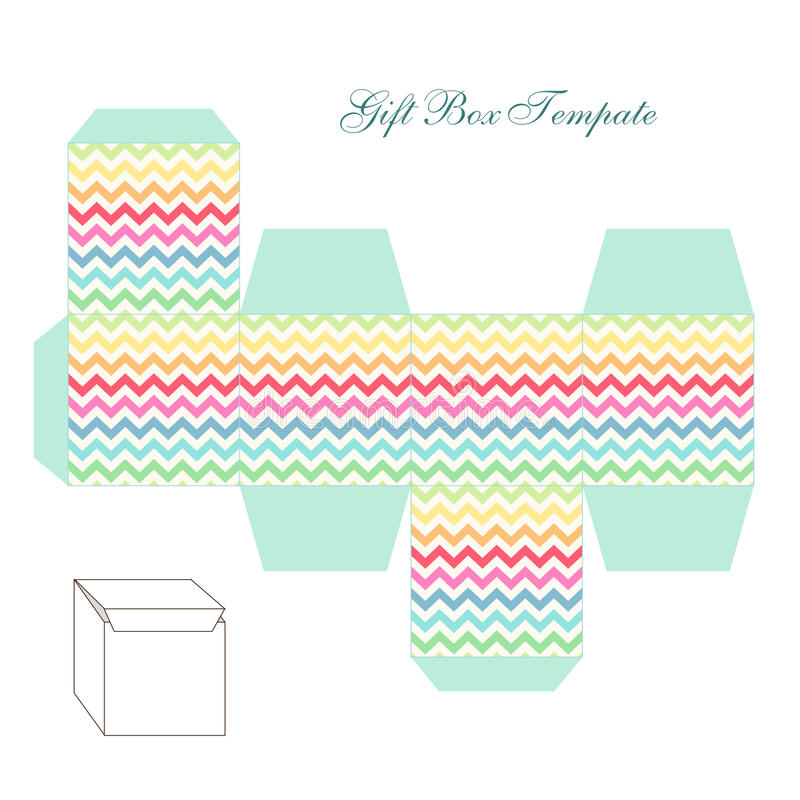 Cute retro square gift box template with chevron ornament to print, cut and fold royalty free illustration