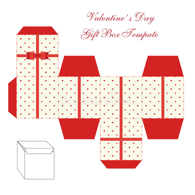 Cute retro square gift box template with hearts ornament to print, cut and fold vector illustration