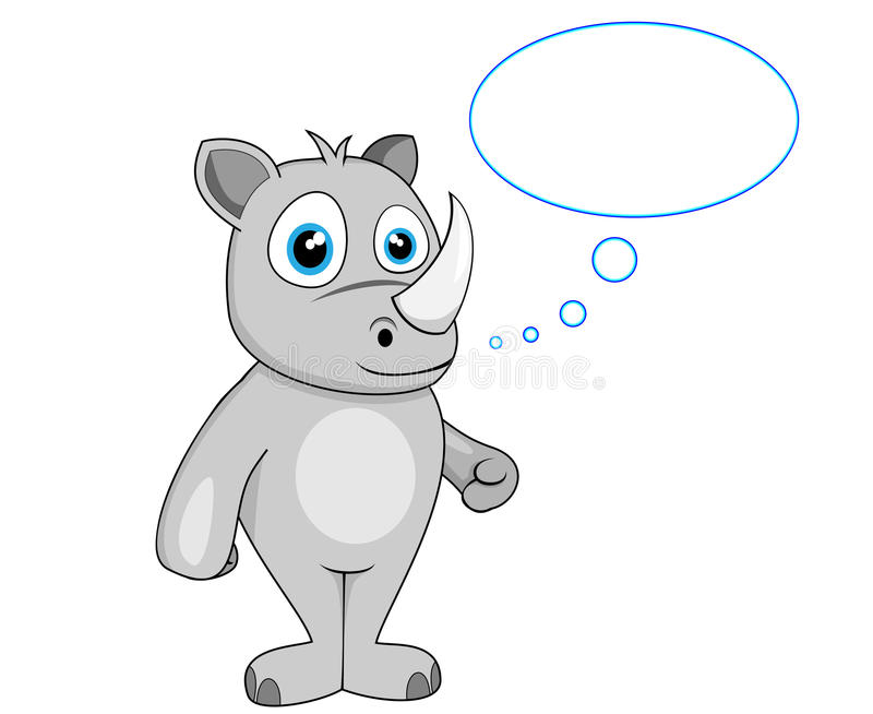 Download Cute rhino in thought stock vector. Image of illustration - 18364829