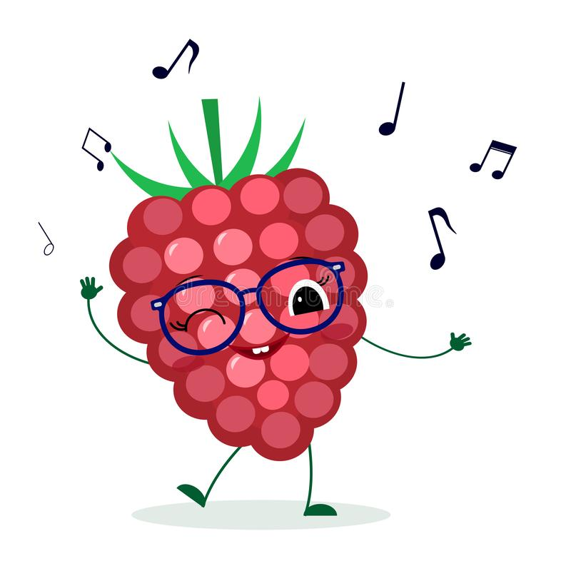 Cute ripe Raspberry  berry cartoon character in glasses dances to music. Logo, template, design. Vector illustration, a flat style.  vector illustration
