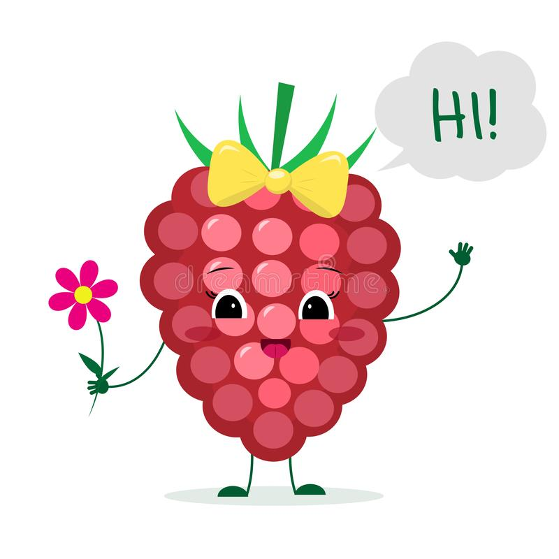 Cute ripe raspberries berry cartoon character with a pink bow holding a flower and welcomes. Logo, template, design. Vector royalty free illustration